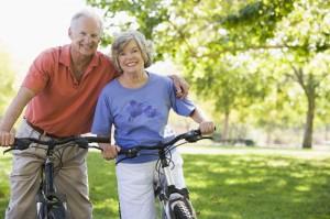Senior-Couple-Riding-Bikes